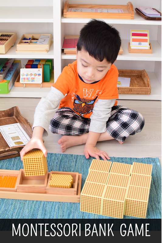 Montessori Golden Beads Bank Game and Task Cards