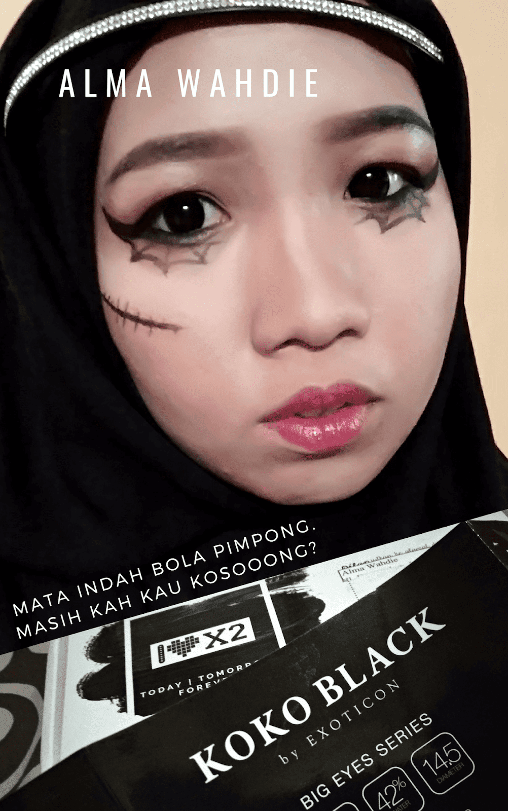 Review softlens koko black marble x2