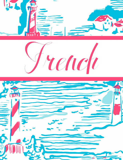 lilly pulitzer french class binder cover free printable studying organization preppy watch out lighthouse print