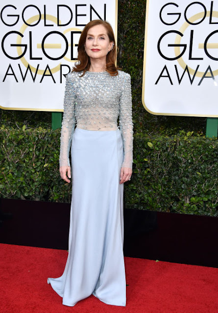 Isabelle Huppert Wear Spakly Blue Dress At 2017 Golden Globes
