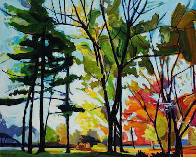 Acrylic painting of Glen Park Williamsville in autumn