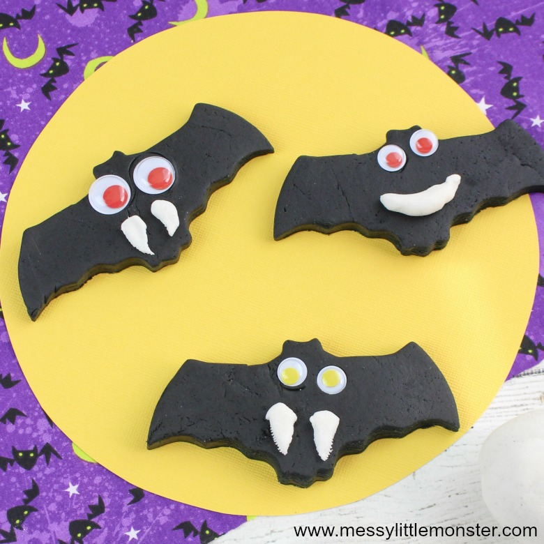 Black Playdough Halloween Bats - Halloween Activities for Kids
