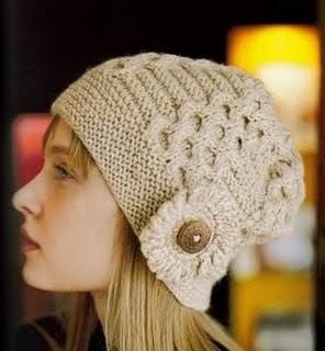 gorro feminino touca feminina chapeu quente cabeça mulher inverno look choche trico nude botão elegante fino chique