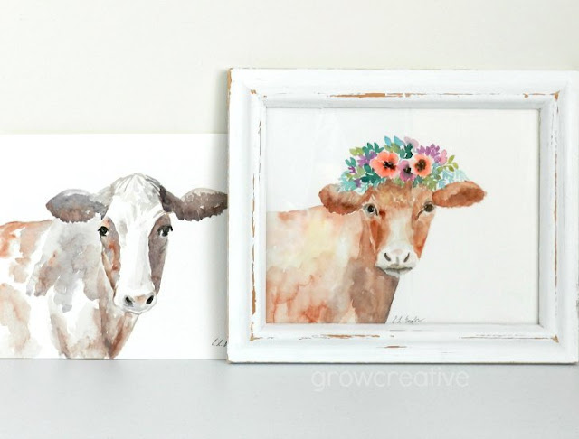 Farmhouse Style Watercolor Cows with Flowers by Elise Engh: Grow Creative Blog