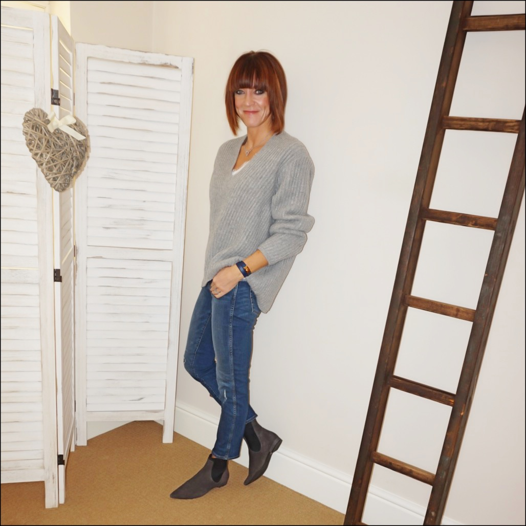 my midlife fashion, acne studios ribbed v neck jumper, zara lace trim camisole, j crew vintage straight jeans rip and repair, madeleine soft suede chelsea boots