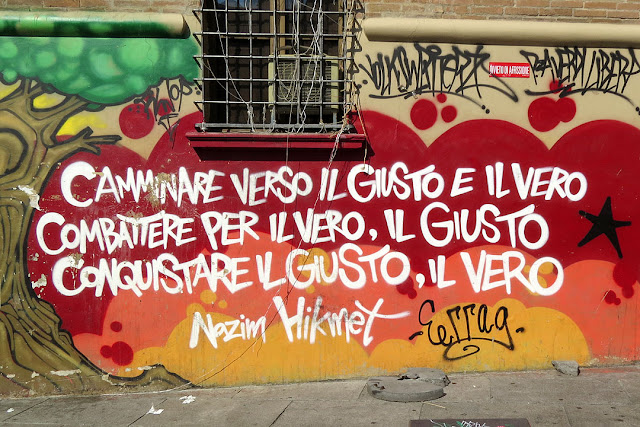 Nâzım Hikmet's verses on a wall, Piazza Giuseppe Verdi, Bologna