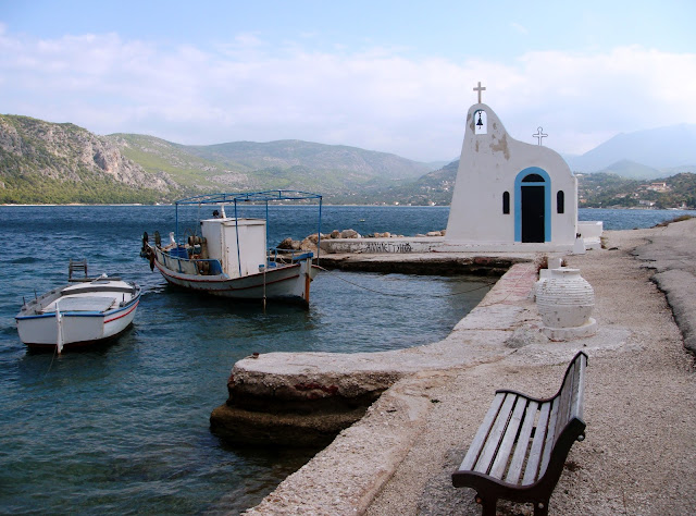 Agios Nikolas Church, Lake Vouliameni Loutraki, Greece. Photo by Greeker than the Greeks