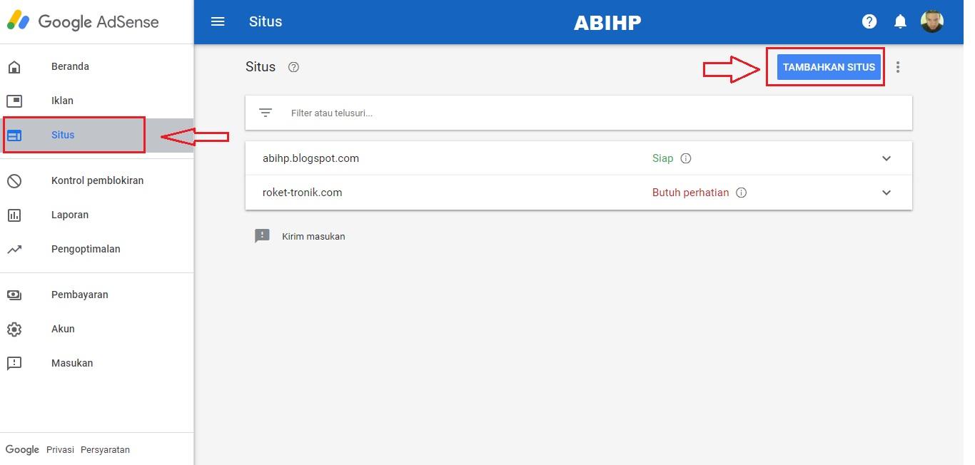 Cara menambahkan situs pada adsense.