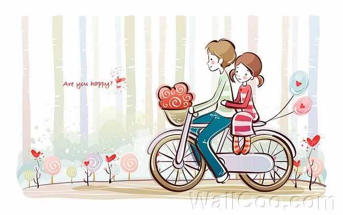 Gambar Kartun Romantis Naik Sepeda Nusagates