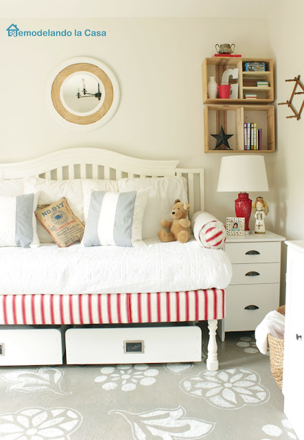 red accents on daybed