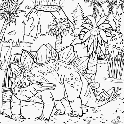 Tropical Jurassic world roof lizard reptile herbivore plant eater Stegosaurus Dinosaur coloring page
