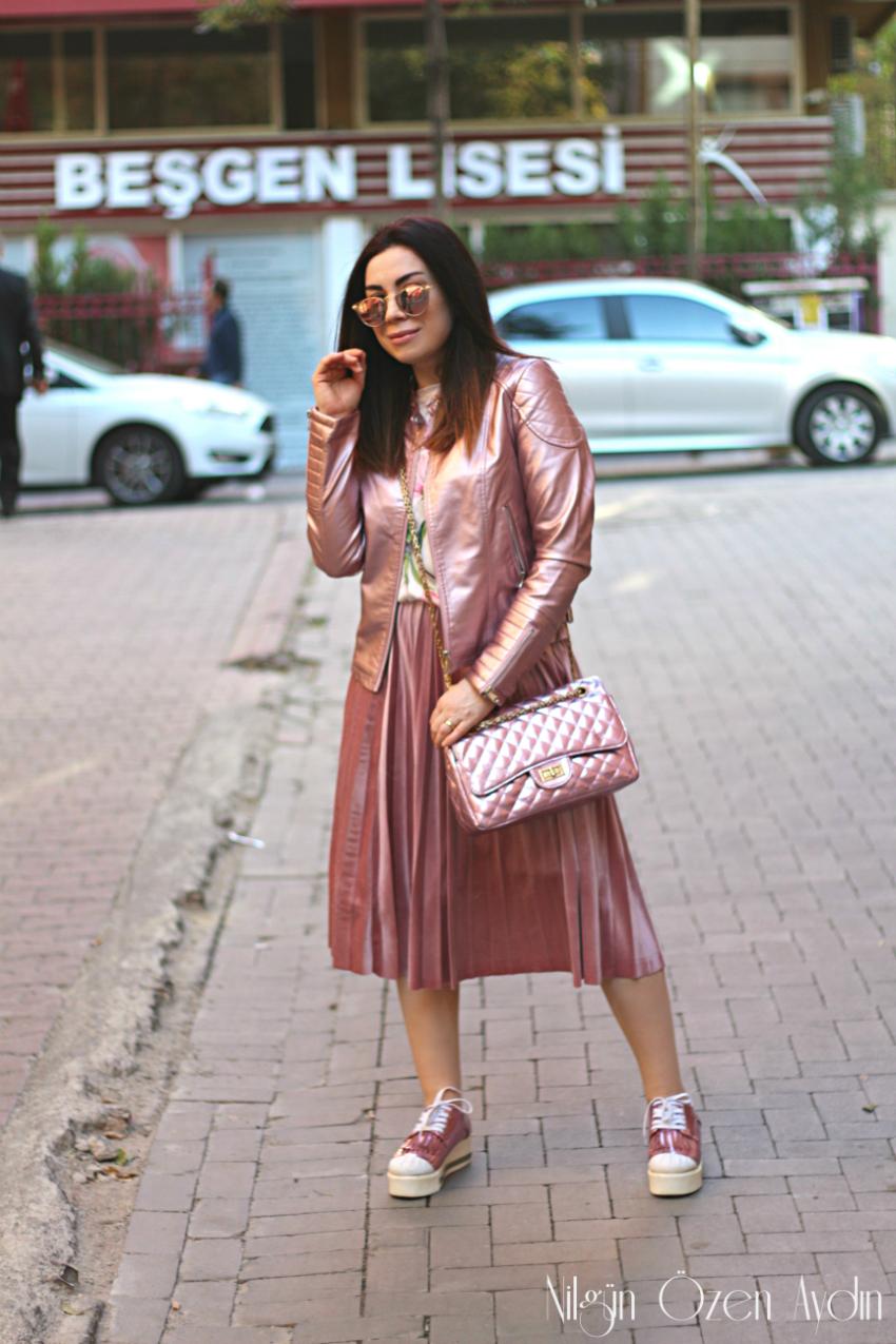 Metalik Pembe Deri Ceket-fashion blogger-moda blogu
