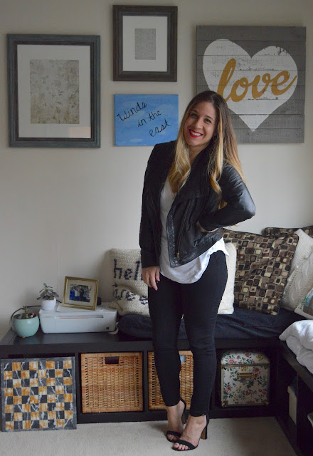Nordstrom Caslon petite moto jacket // White BP Tee // Black Skinny Jeans // Black Vince Camuto Helled Sandals // YSL #10 Lipstain // Peplumsandpie.com
