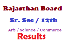 Rajashtan Board Sr.Sec 12th Arts Science Commerce Results