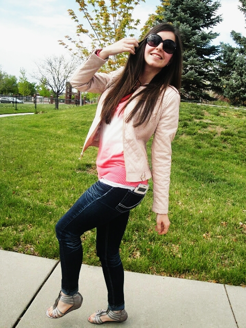 pink leather jacket, super skinny jeans, pretty, skinny jeans, sporting it chic,