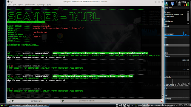 "[ SCANNER INURLBR / TERMINAL. ] php botConsole.php  --host='www.google.co.bw' --dork='site:br inurl:/wp-content/themes/ ""Index of /""' --arquivo='resultado.txt' --tipoerro='2' --exploit='' --achar='Index of'"