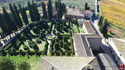 Italianate garden of the Badia a Passignano in Chianti, Tuscany