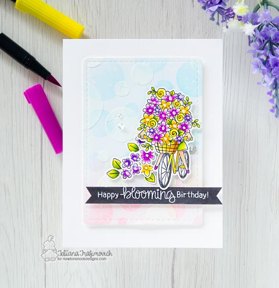 Spring card with bicycle by Tatiana Trafimovich | Loads of Blooms Stamp Set and Bokeh Stencil by Newton's Nook Designs