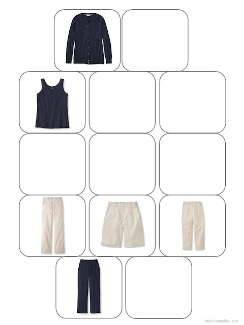 six navy and beige wardrobe core pieces in a 13-piece wardrobe template
