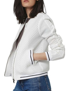 Topshop Diamond Airtex bomber jacket in white mesh and white and black stripe elastic edging