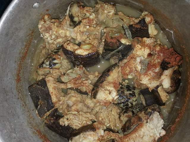 Photos: Man kills big snake in Delta State, makes pepper soup with it; claims he meat cures back pain, HIV/Aids and helps