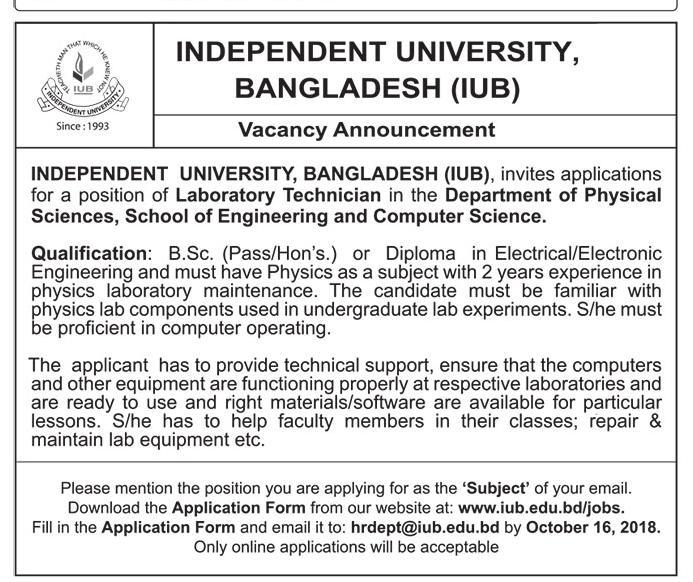 Independent University, Bangladesh (IUB) Job Circular 2018