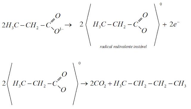 reaçao anodica propanoato sodio