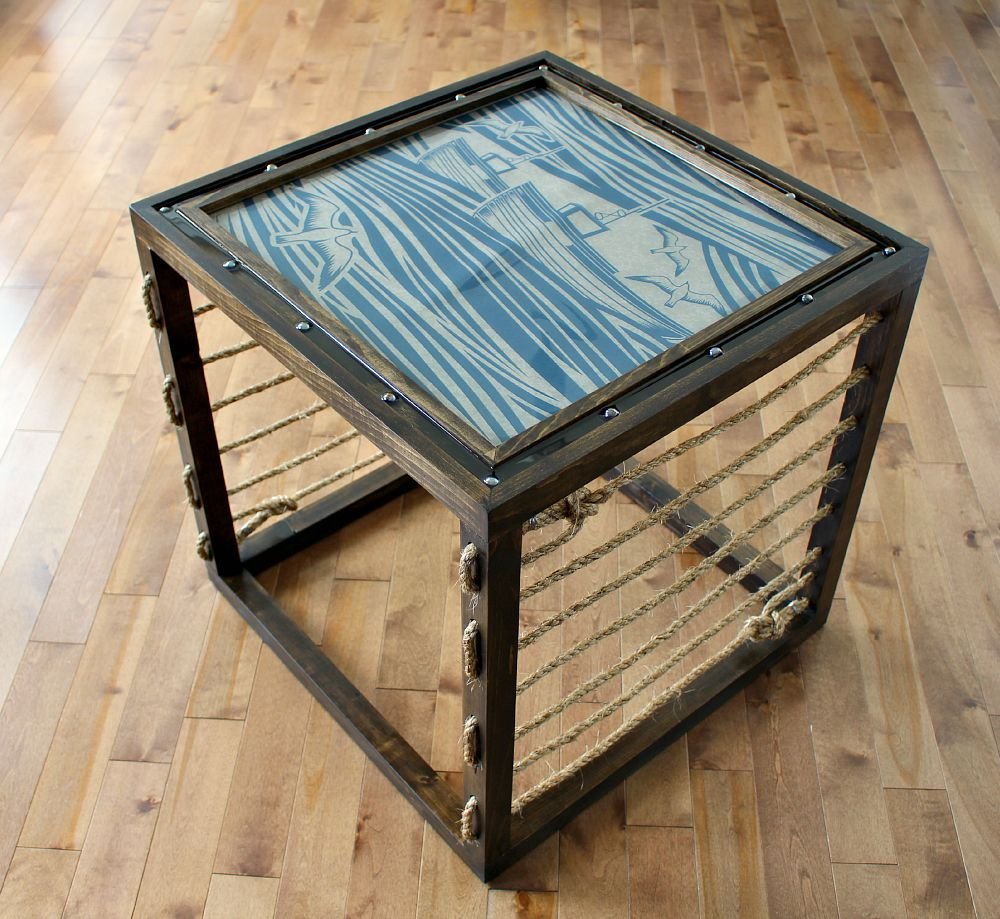 DIY nautical rope side table