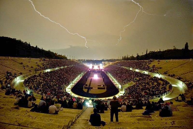 A rainy night at the Panathenaic Stadium devoted to Stelios Kazantzidis. - Panathenaic Stadium. The Birthplace of Modern Olympics