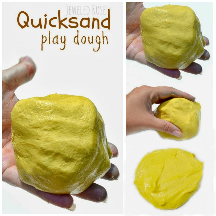 Amazing quicksand play dough - it is mold-able but turns to liquid when kids hands are still. This recipe for play requires just a couple ingredients and NO COOKING!