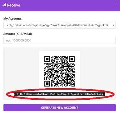 código wallet recibir raiblocks