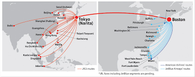 JAL Tokyo-Boston 787 route connection options