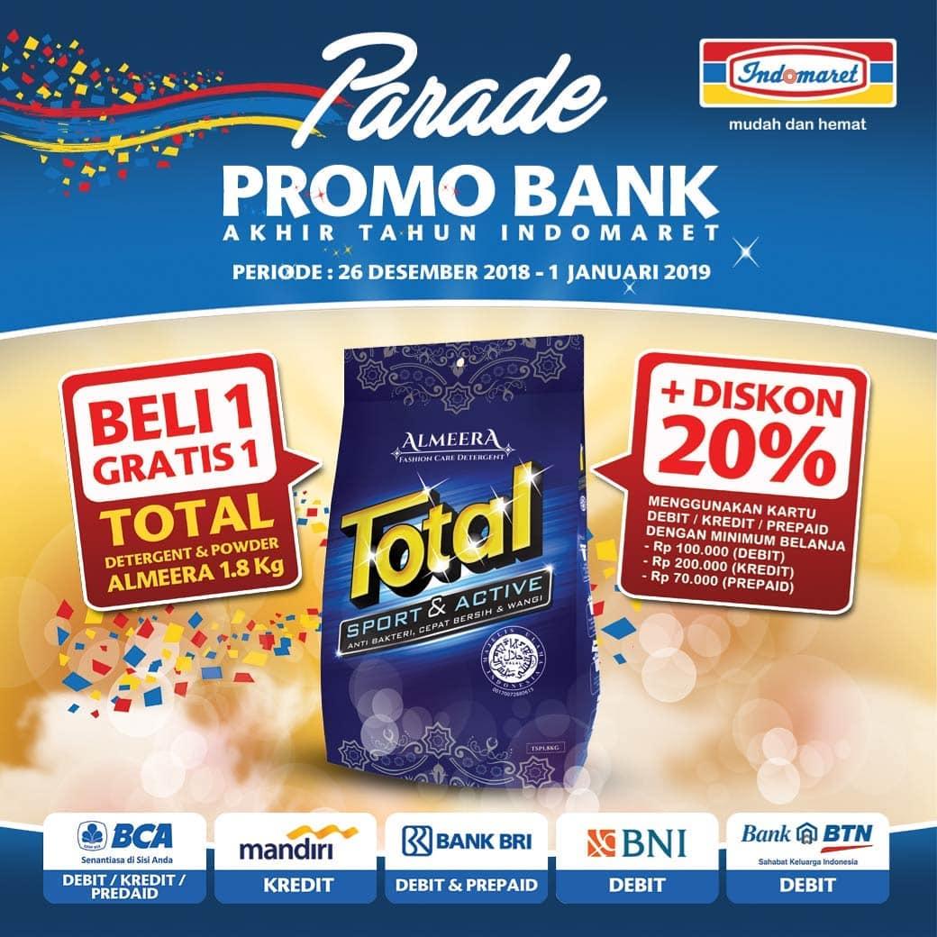 #Indomaret - Promo Bank Buy 1 Get 1 Total Detergen Almeera 1,8KG + Diskon 20%