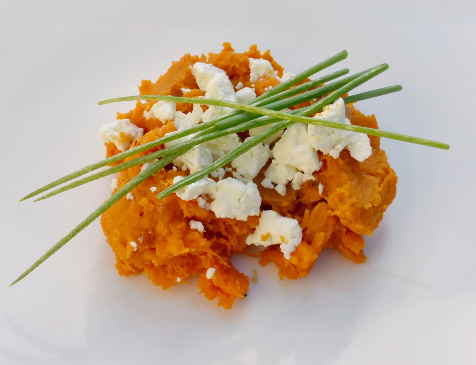 mashed yams (sweet potatoes) with goat cheese and green onions