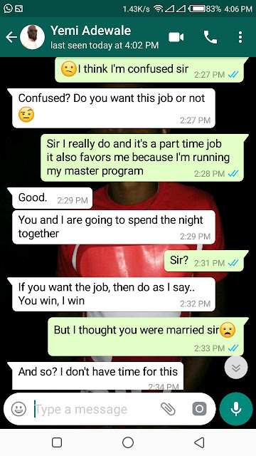 Twitter user shares screenshots of messages with a married man who insisted on sleeping with her before giving her a job