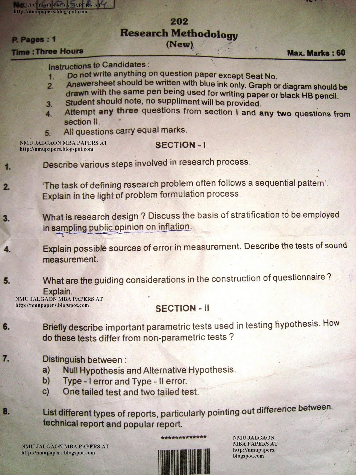 Research Methodology Question Paper Mba - Research