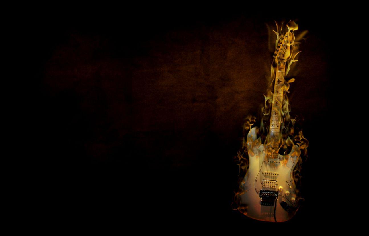 Flaming Guitars Digital Art Hd Wallpaper: Guitar Brown Music Hd Wallpaper