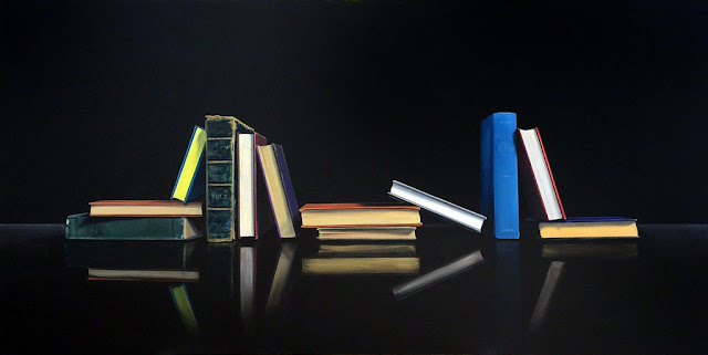 Jeanne Vadeboncoeur original oil painting of books realism