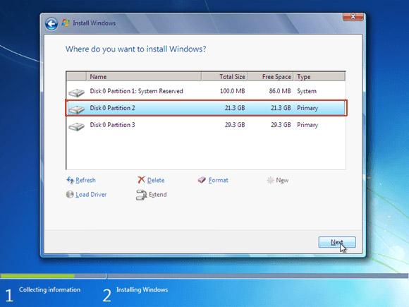 Instal windows 7 - Lokasi instal windows 7