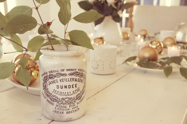 Vintage Dundee marmalade jar on romantic feminine modern farmhouse tablescape on rustic farm table