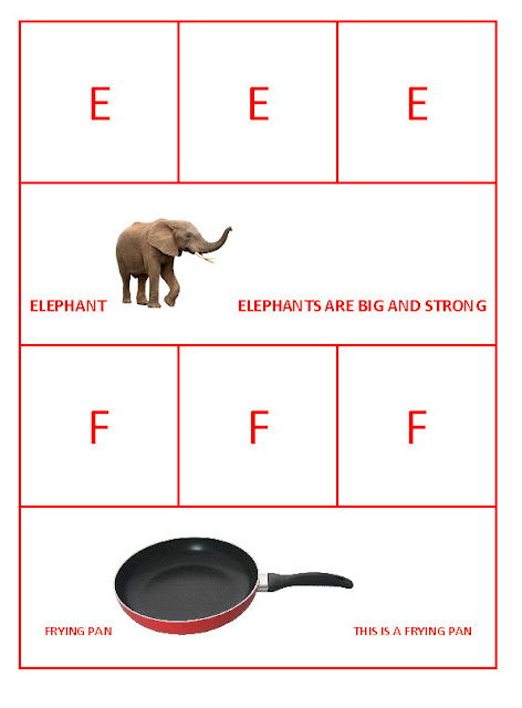 E for Elephant and F for Frying Pan