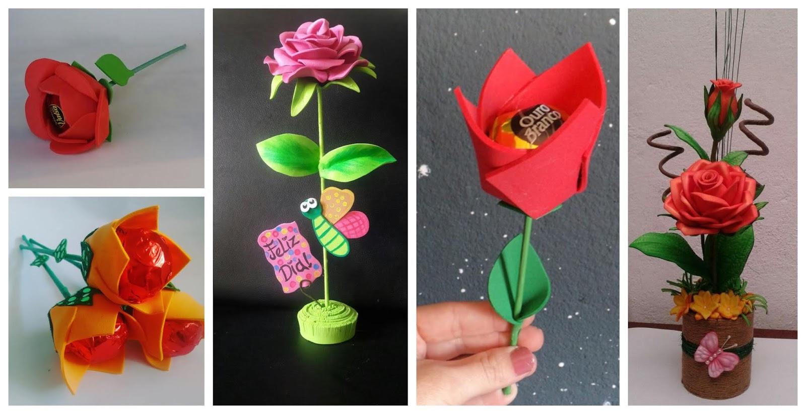 Rosas en foami con chocolates para regalar en el día de la madre ~ Belleza  y Peinados