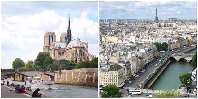 Río Sena y Catedral de Notre-Dame de Paris – Vistas desde Notre-Dame Casas, Inválidos y Torre Eiffel
