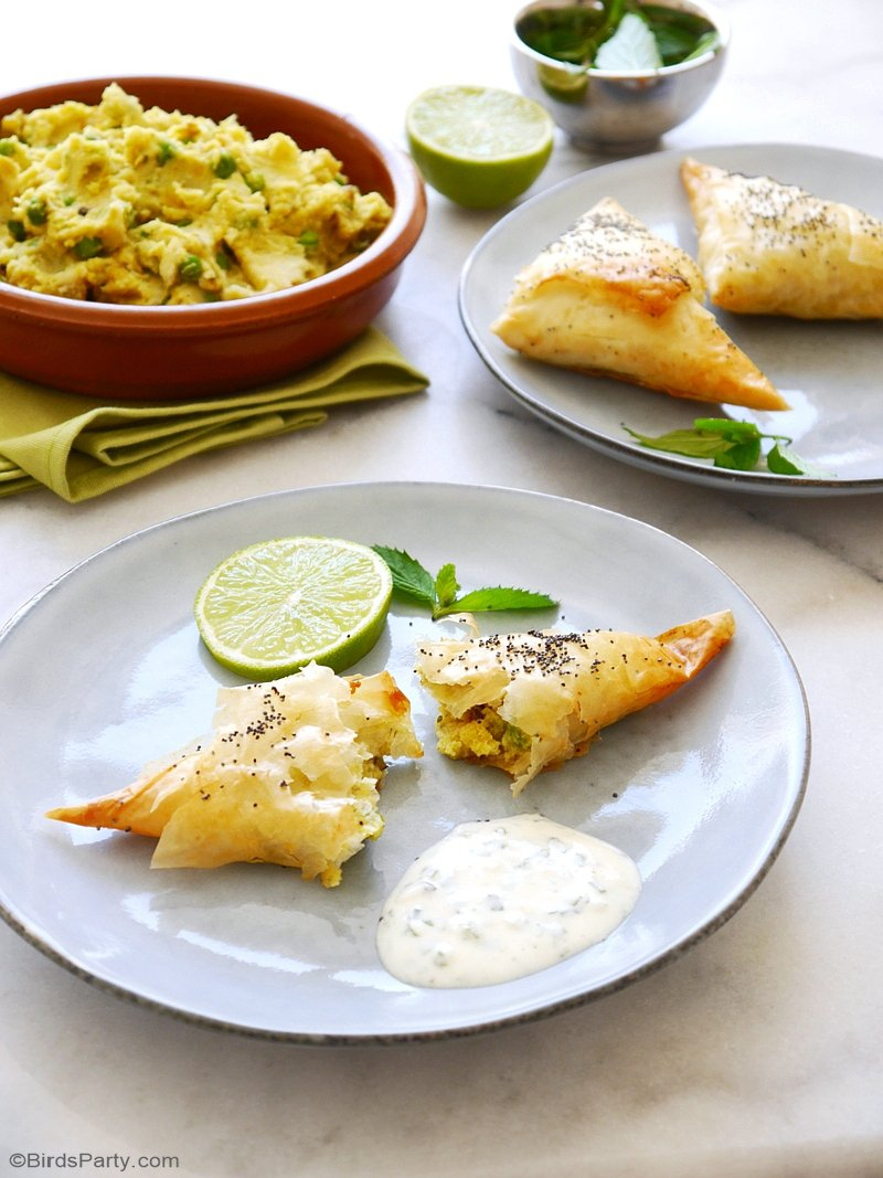 Vegetarian Indian Samosas Recipe - an easy to make, quick appetizer to please the whole family! Delicious served as party appetizers, entrees or snacks! by BirdsParty.com @birdsparty #samosas #vegetarianrecipe #indianrecipe #vegetariansamosa #indianfood #partyappetizer #appetizerrecipe #appetizers