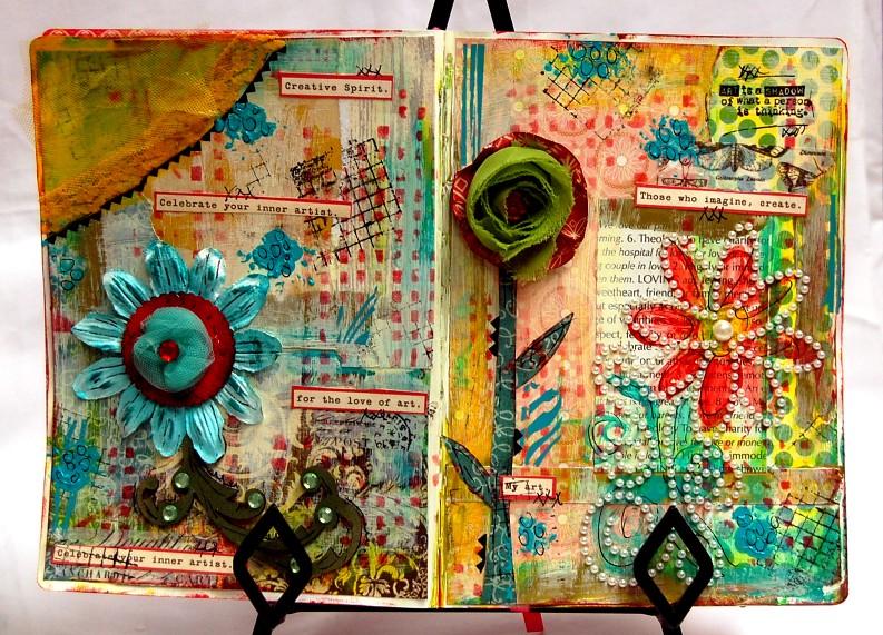 Art Journal Calendar Tutorial : Want scrap flower tutorial art journal