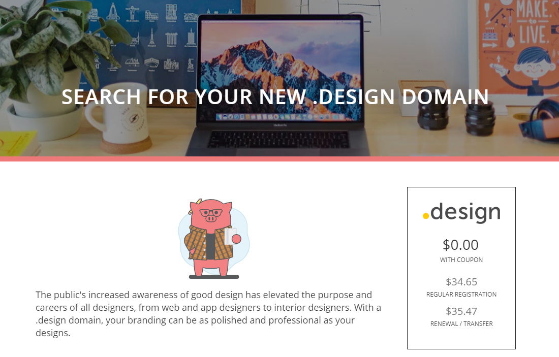 Get Free .Design Domain from Porkbun.com