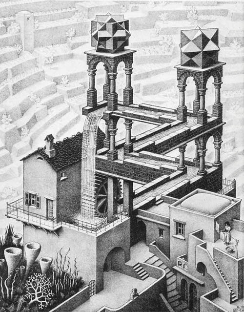 01-Waterfall-Andrew-Lipson-Surreal-M-C-Escher-v-Lego-in-Drawing-v-Sculpture-www-designstack-co