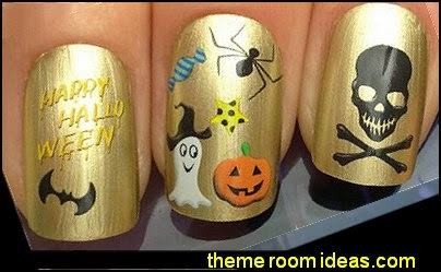 NAIL ART WATER DECALS TRANSFERS STICKERS HALLOWEEN GHOST PUMPKIN SPIDER BAT