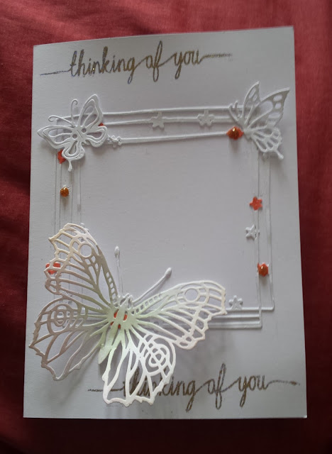 "Thinking of You - butterflies white on white 5"" x 7"" card"