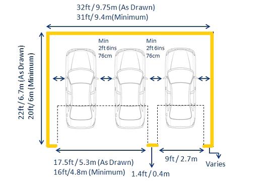 Door Width U2013 9ft / 2.7m Minimum (single Garage Door Width) Door Width U2013  16ft / 4.8m Minimum (double Garage Door Width)